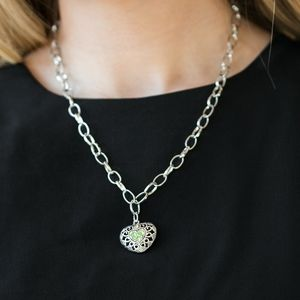 Mix and Match Jewelry Silver Tone and Green Neckla